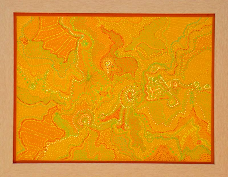 tangerine Australian art original abstract dot painting framed