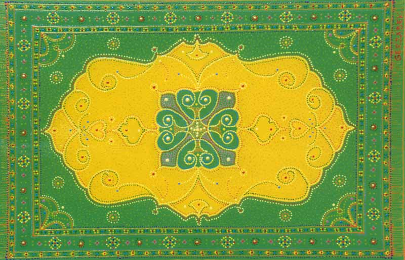 oriental rug inspired contemporary original contemporary green painting