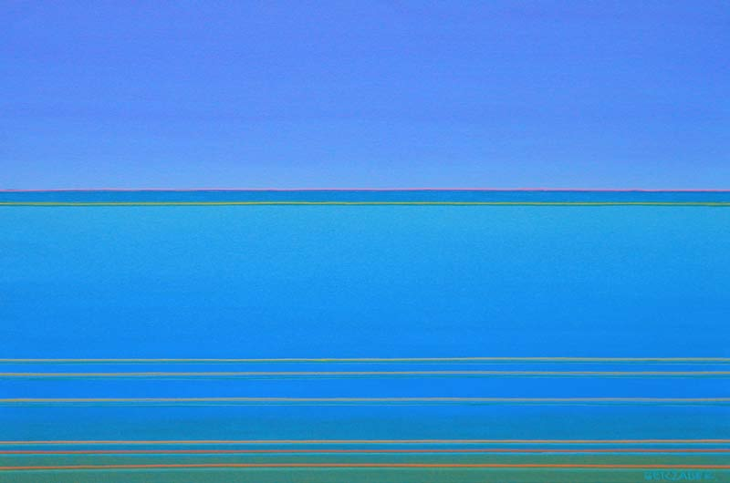 waterside spectrum shift blue and green sescape painting by the seaside