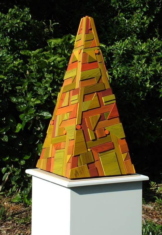 contemporary sculpture geometric timber pyramid recysled timbers artwork