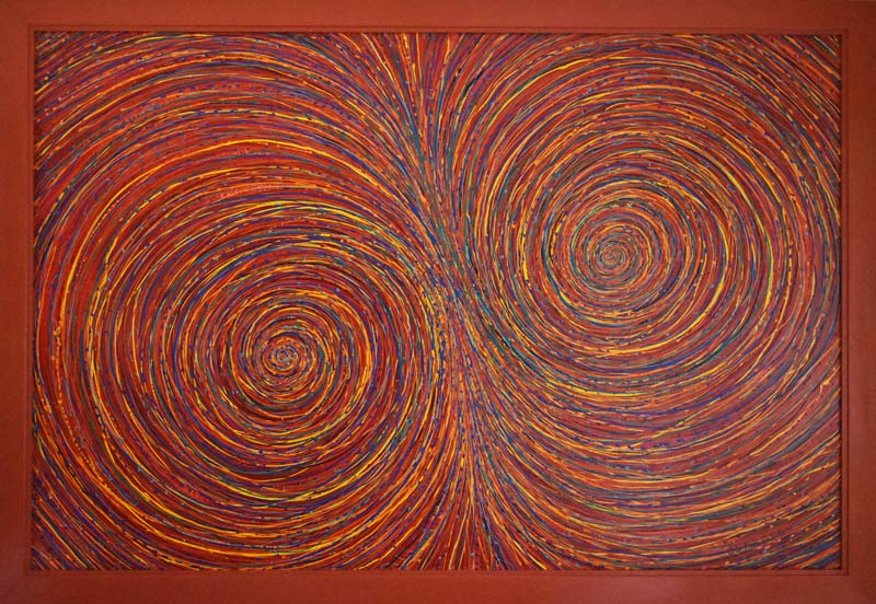 multi-coloured spirals abstract painting