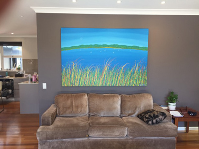 gone sailing painting in living room
