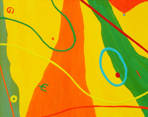 just for fun contemporary abstract colourful painting Matisse inspired