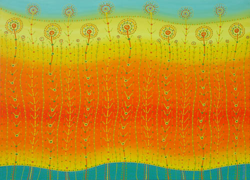 spring fever flora inspired abstract painting