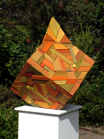 geometric timber cube variation sculpture recycled timber