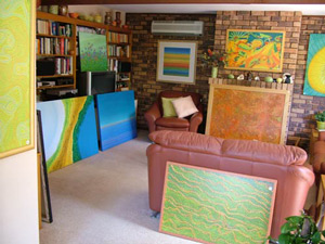 paintings in living room