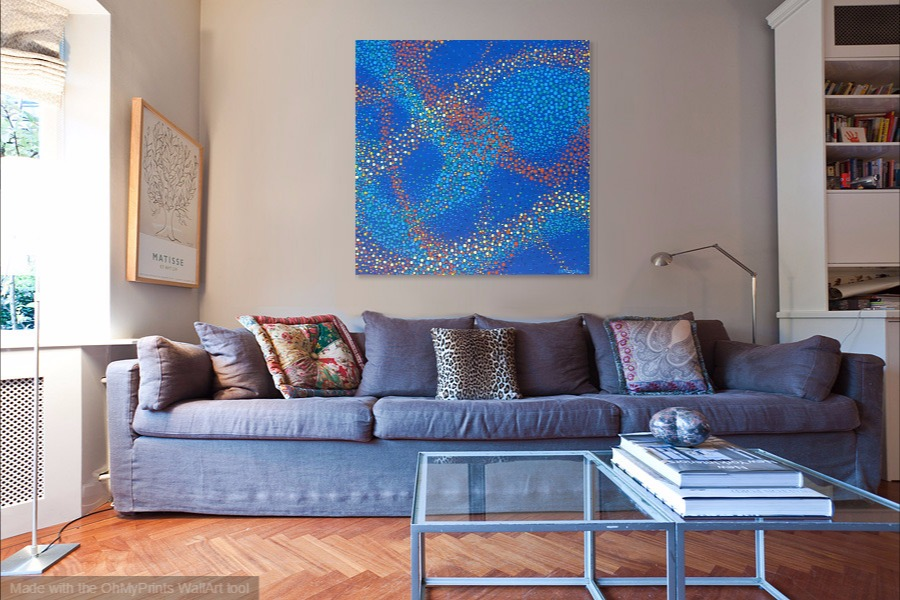 aboriginal art inspired imaginary cosmos abstract contemporary painting on wall