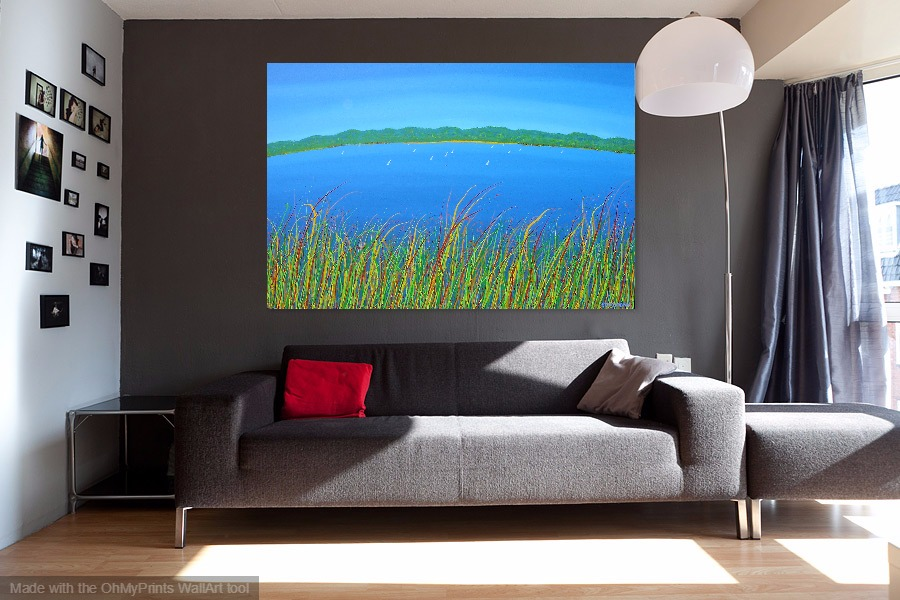 gone sailing water view across the lake with boats contemporary painting on wall