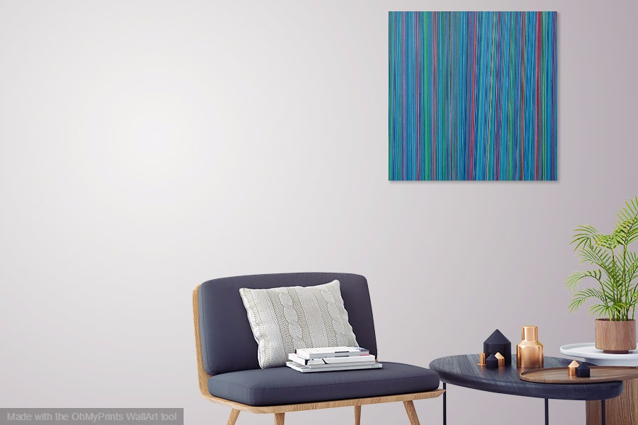 razzle dazzle geometric linear contemporary abstract painting on wall