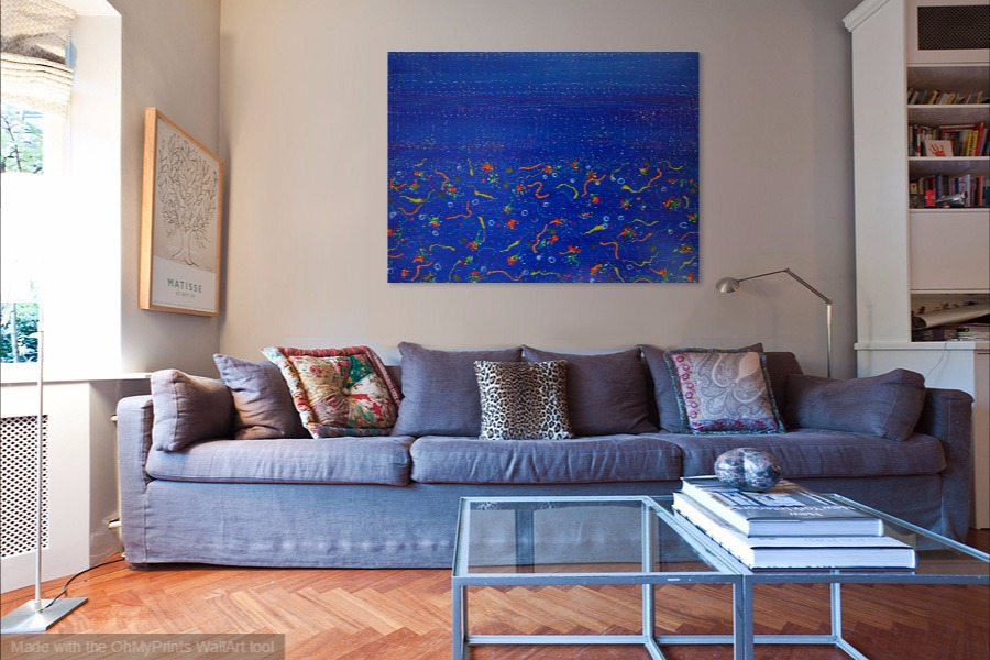 ocean under water acrylic semi-abstract seascape painting on wall