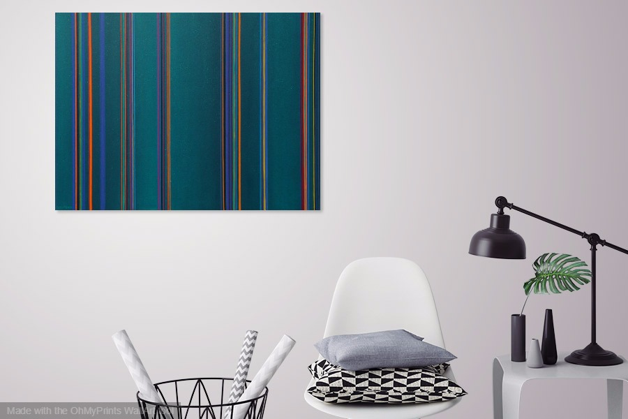 neon lights parade abstract contemporary geometric painting on wall