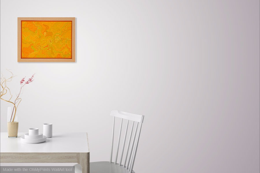 tangerine Australian art original abstract dot painting framed on wall