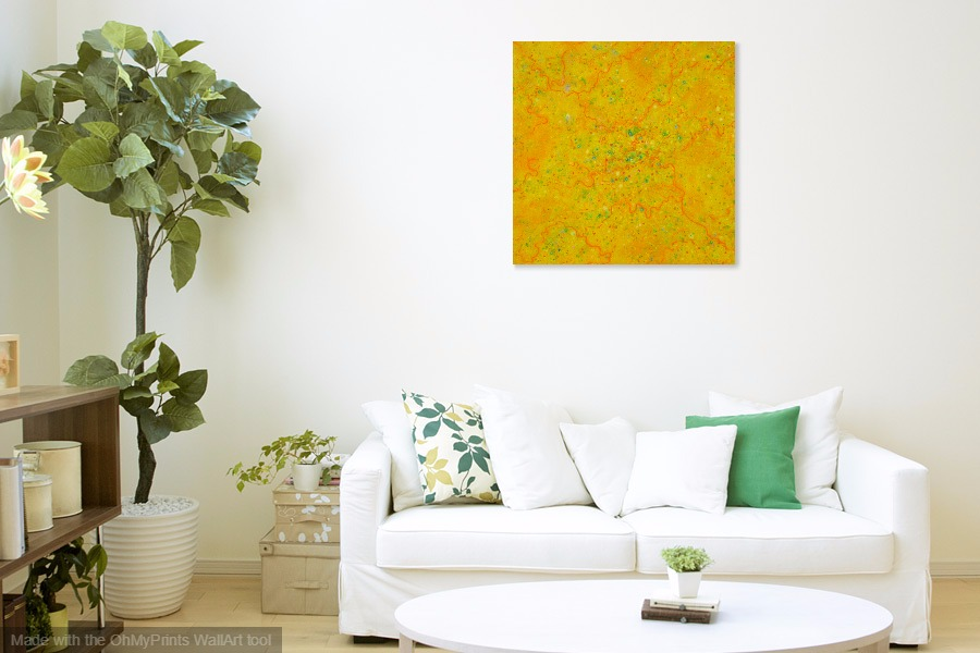 yellow mellow abstract landscape original painting on wall