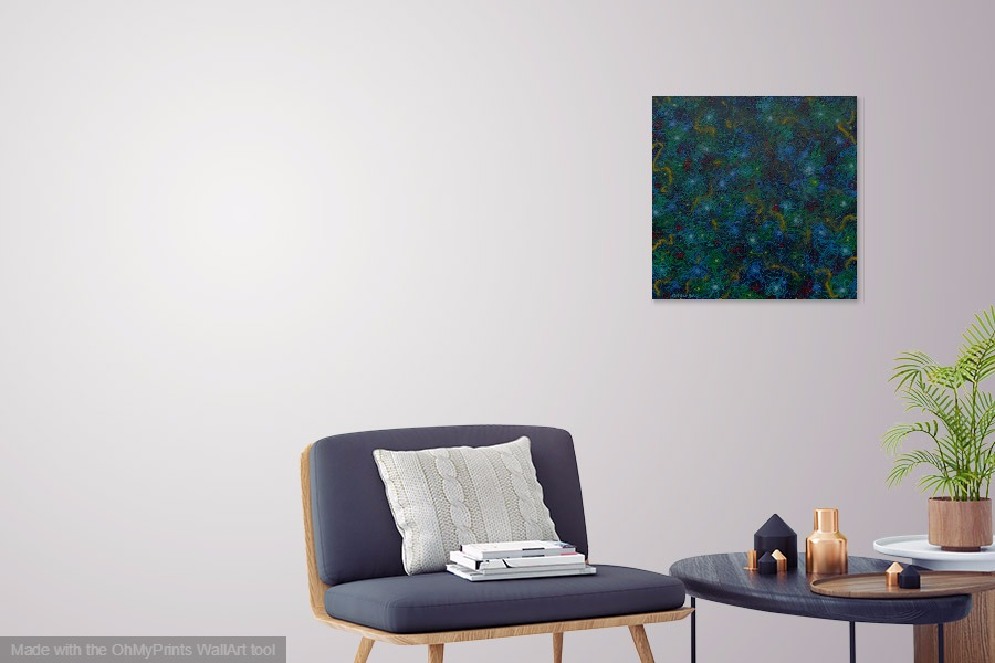 mystery submarine ocean painting on wall contemporary original abstract sescape