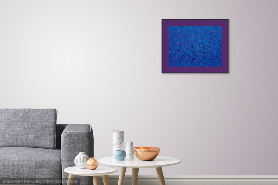 in the dark blue original abstract framed painting on wall