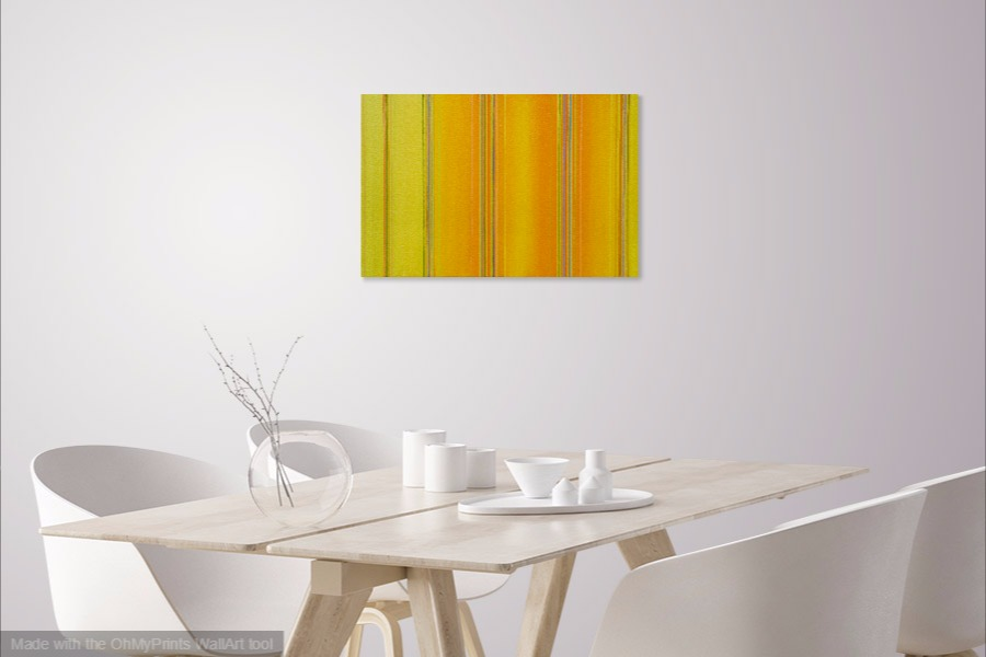 yellow geometric abstract artwork painting on wall with multi-coloured lines