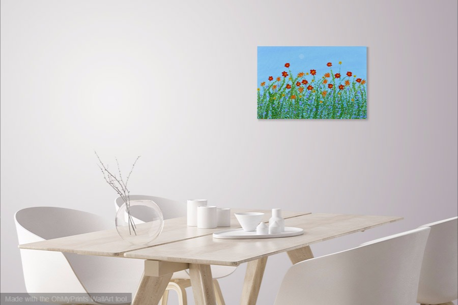 blooming flowers acrylic impressionist floral painting on wall