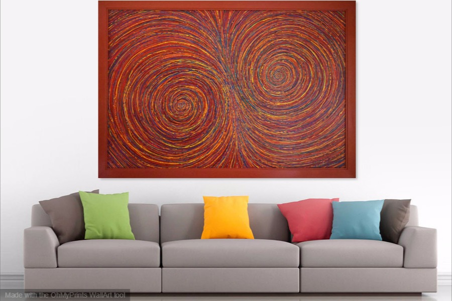 multi-coloured spirals abstract painting on wall
