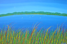 gone sailing water view across the lake with boats contemporary painting